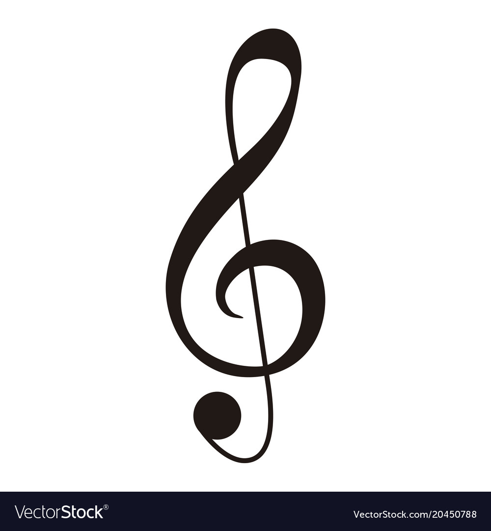 isolated g clef musical note royalty free vector image rh vectorstock com music note vector art music note vector free