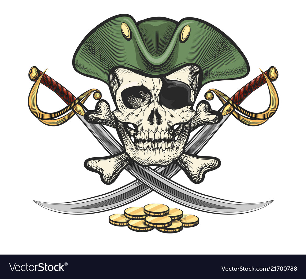 Pirate skull in sailor hat with sabres and coins