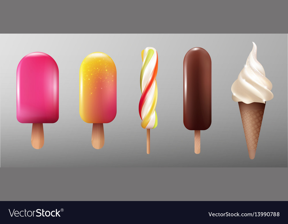 Realistic ice cream collection