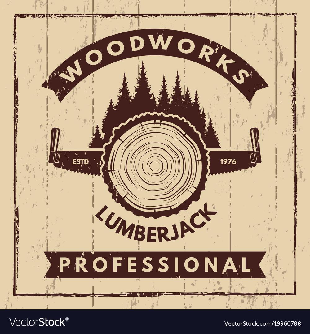 Retro poster with monochrome symbols of sawmill vector image