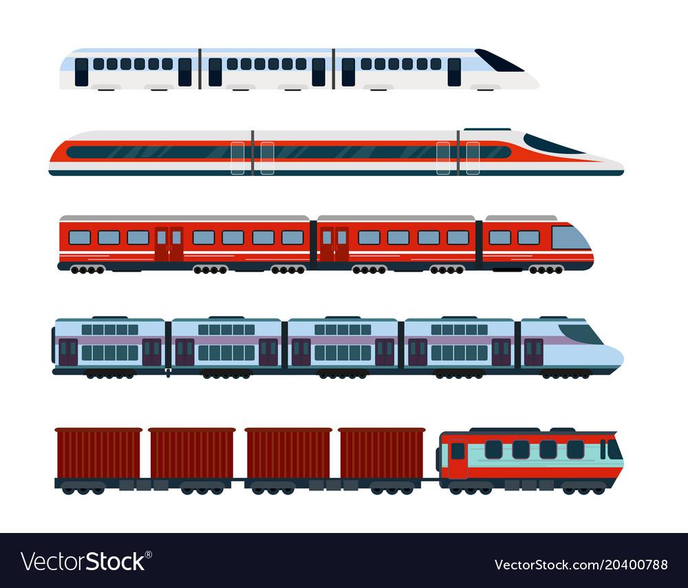 Set of modern passenger trains