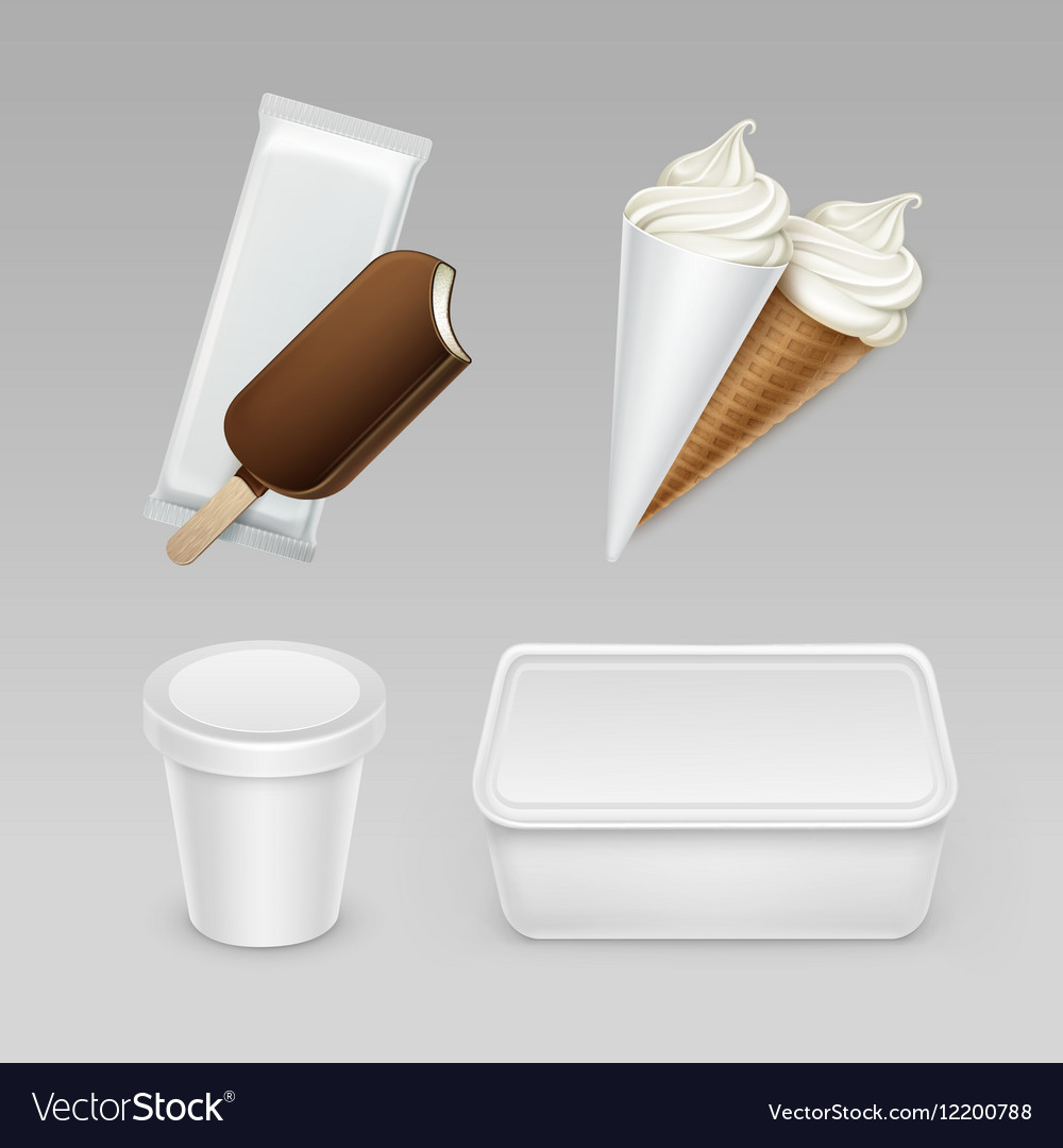 Set of Popsicle Ice Cream Waffle Cone with Box vector image