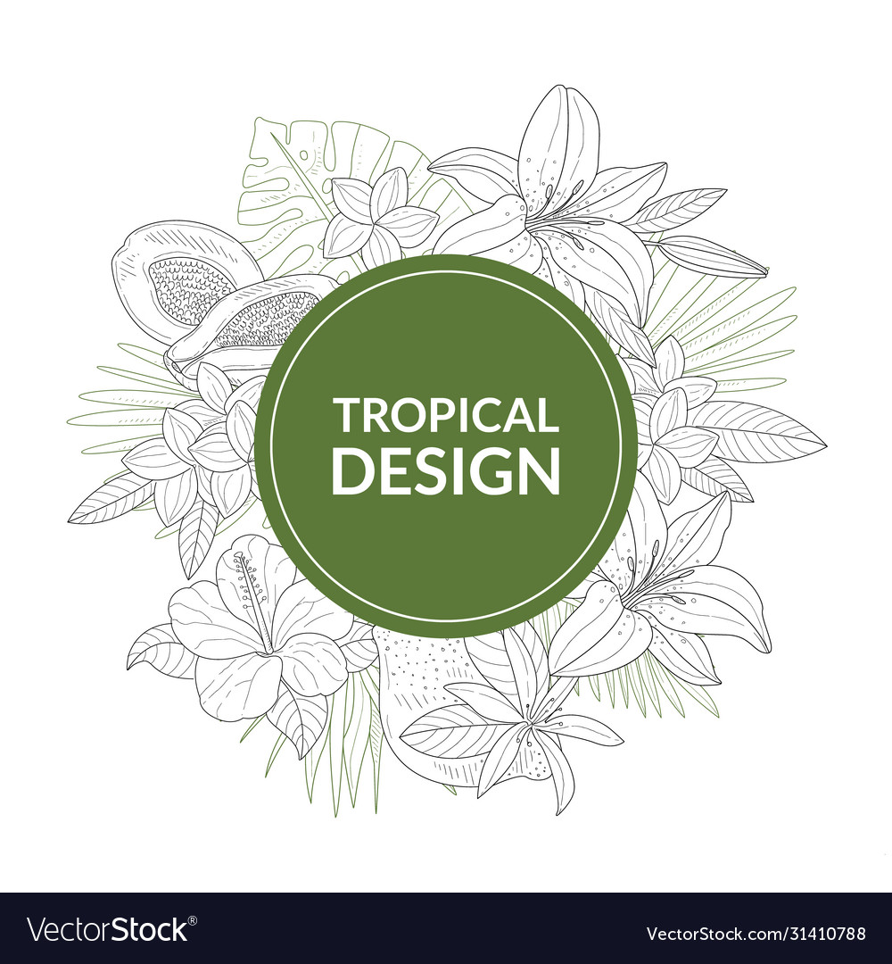 Tropical design banner template with hand drawn