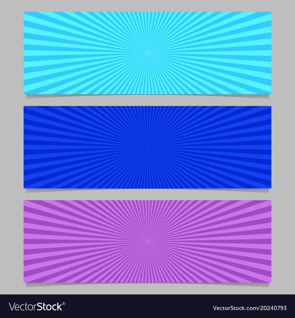 Abstract colorful ray burst banner background set vector image