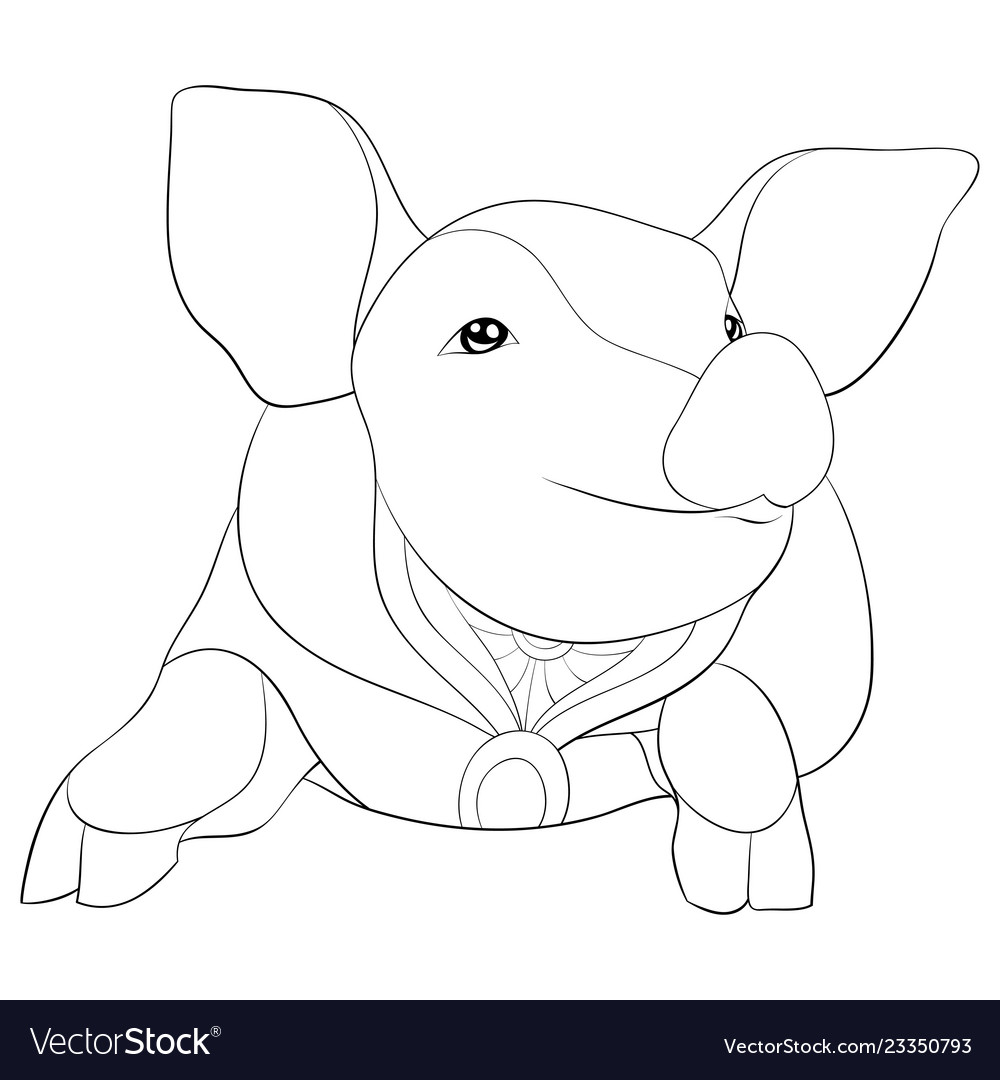 Adult coloring bookpage a cute pig image for