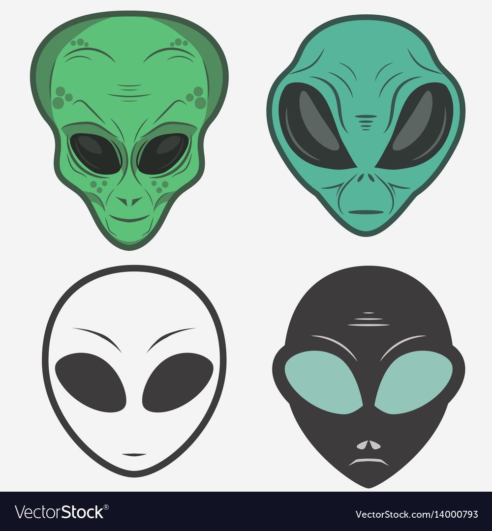 Alien face icon set humanoid head