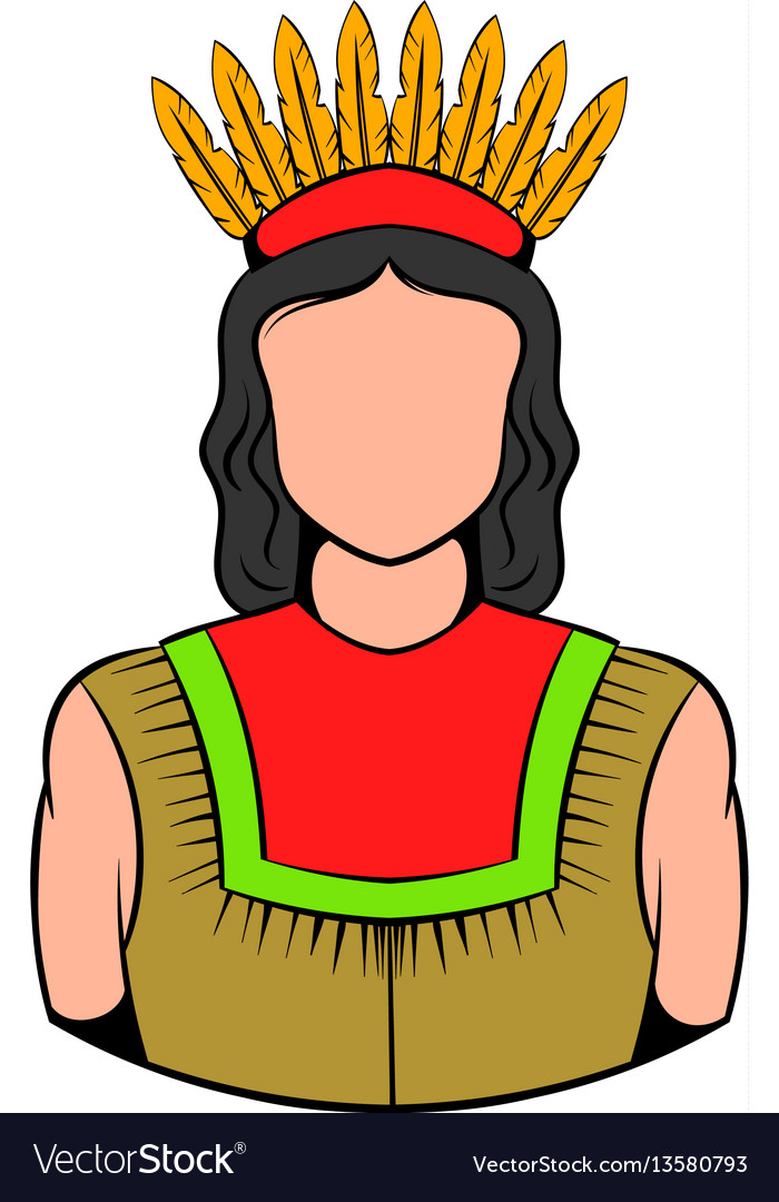 American indian icon icon cartoon vector image
