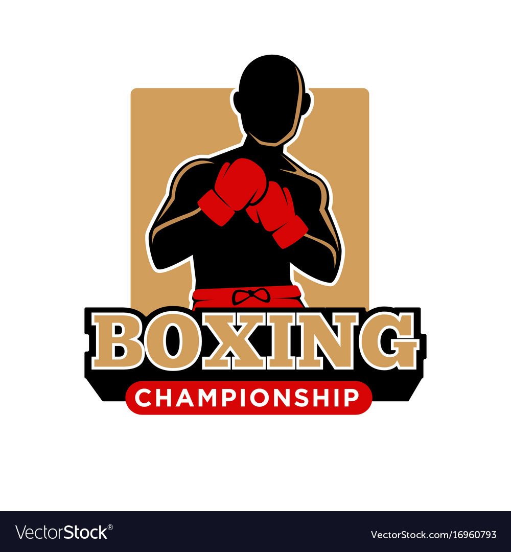 Boxing championship icon template of boxer