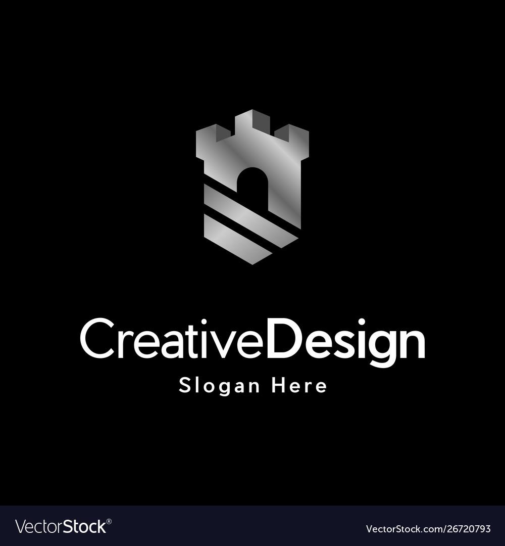 Castle shield metallic creative logo design vector image