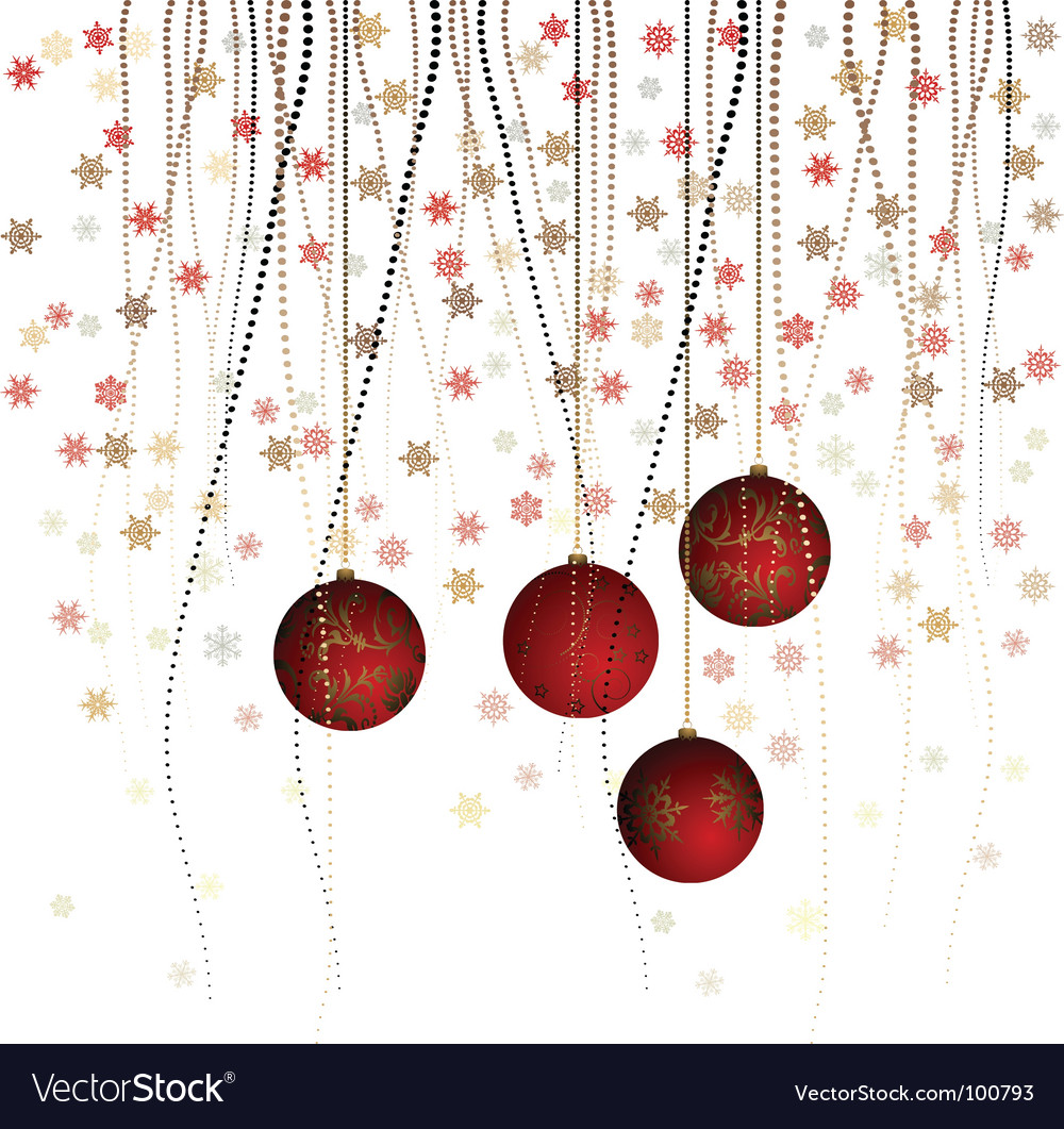 Christmas ball with curly ribbon vector image