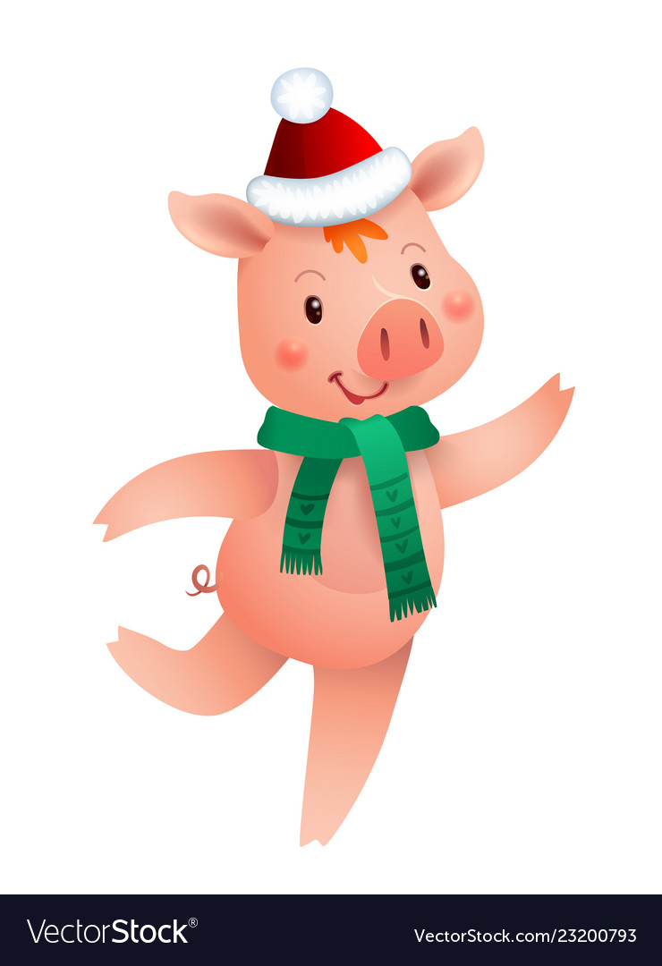 Cute pig and santa hat symbol of the year in the