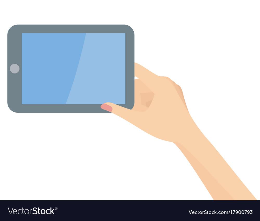 Elegant woman hand holding tablet
