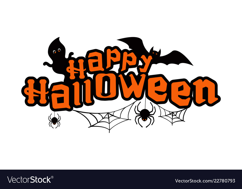Happy halloween text with ghosts bat and spiders