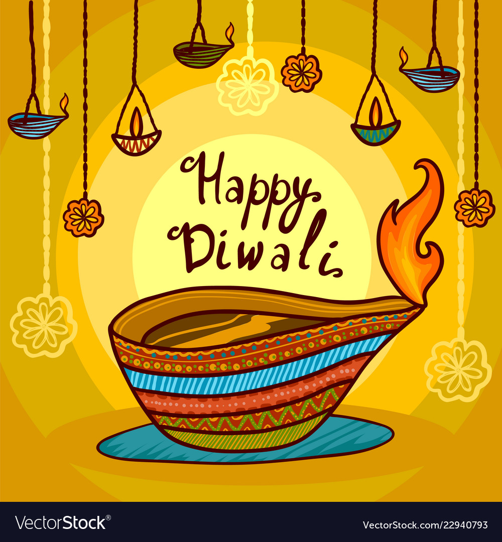 Happy india diwali concept background hand drawn