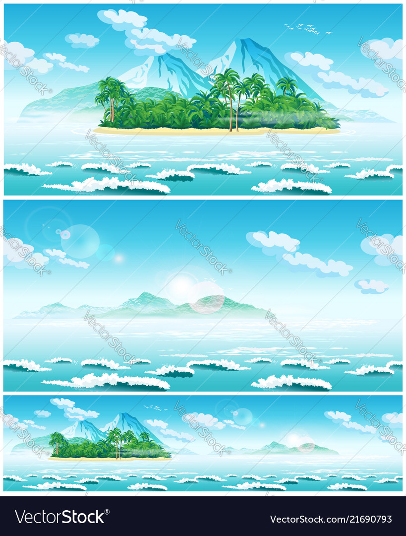 Landscape of the open sea and tropical islands