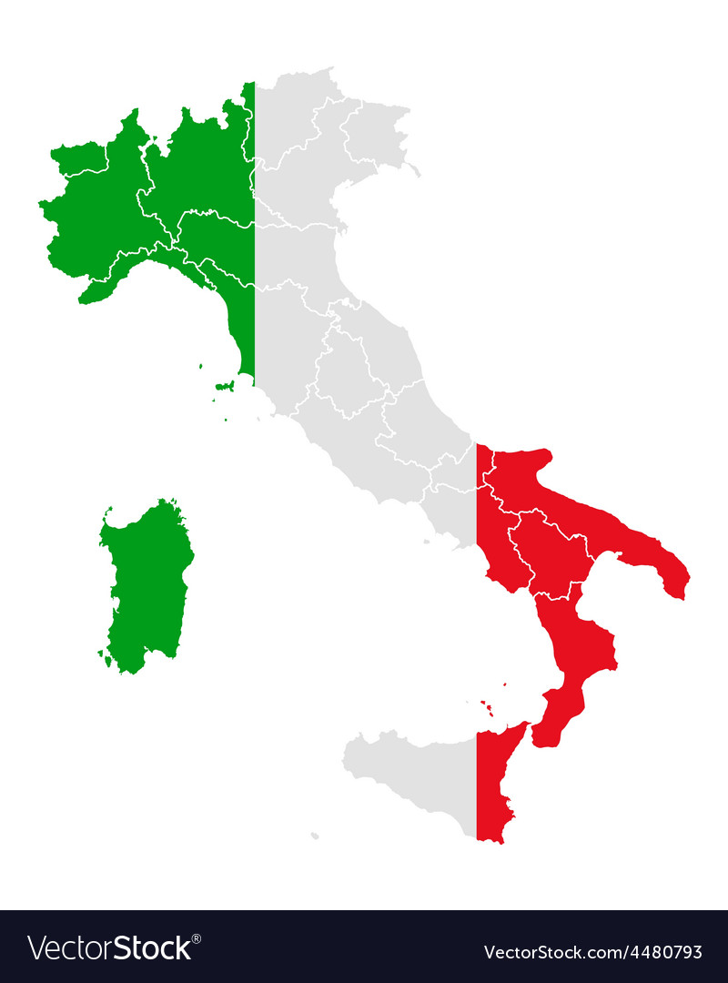 Italy Map Pdf.Map And Flag Of Italy Royalty Free Vector Image
