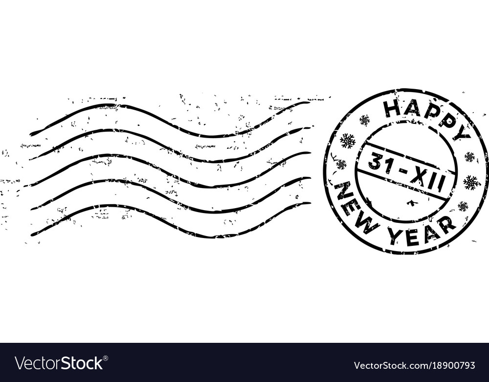 New year post rubber stamp isolated on white