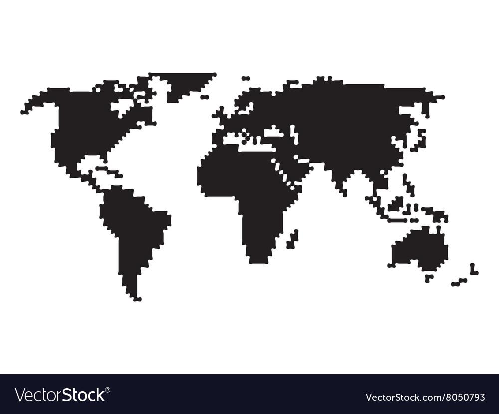 Pixelated world map Royalty Free Vector Image   VectorStock