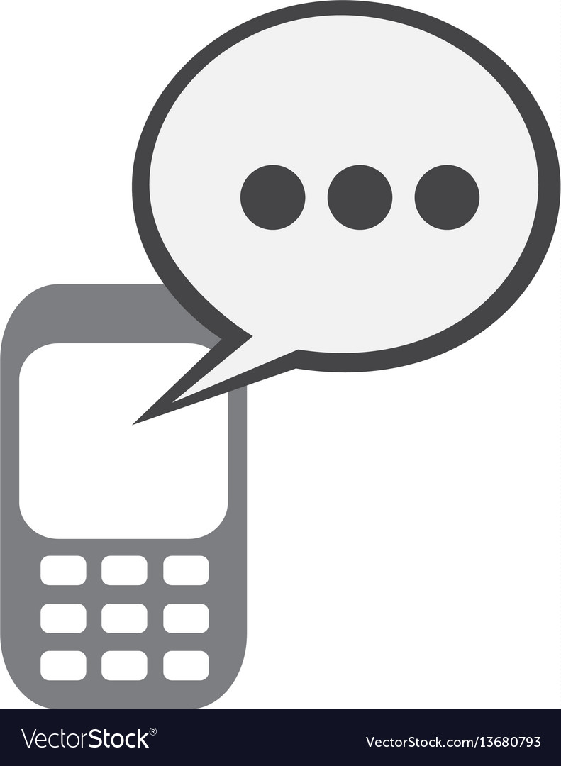 Silhouette tech cellphone and dialog box icon flat