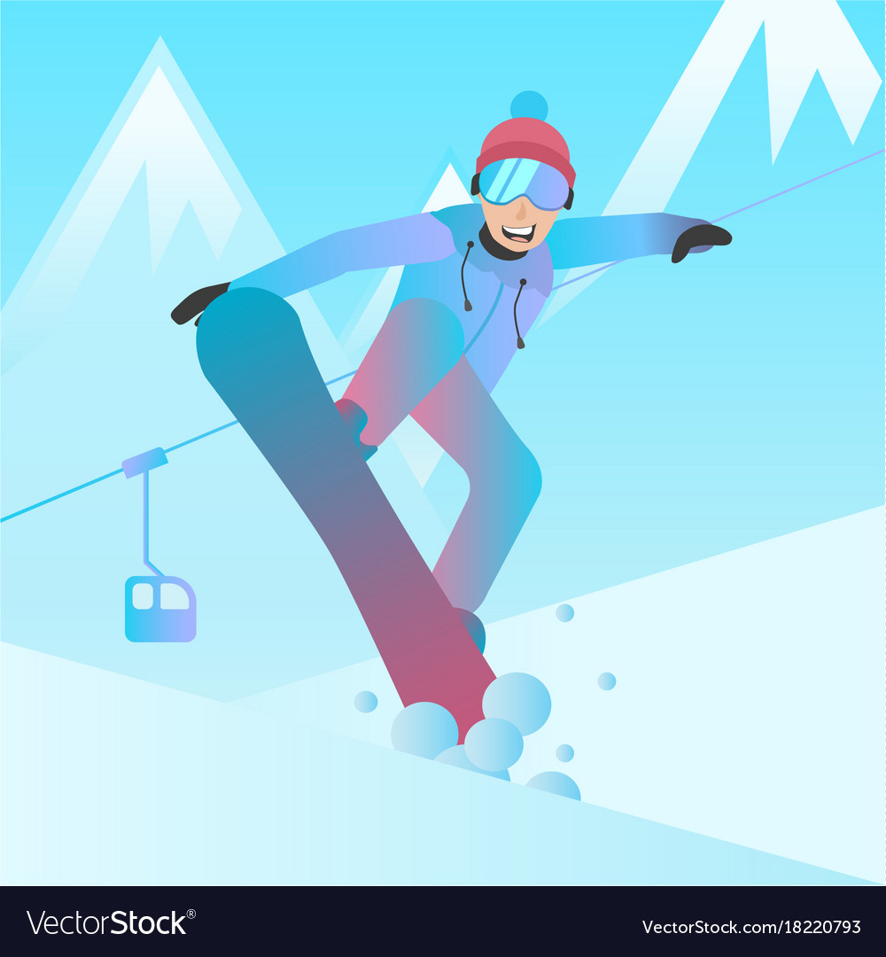Snowboarder man jumping on