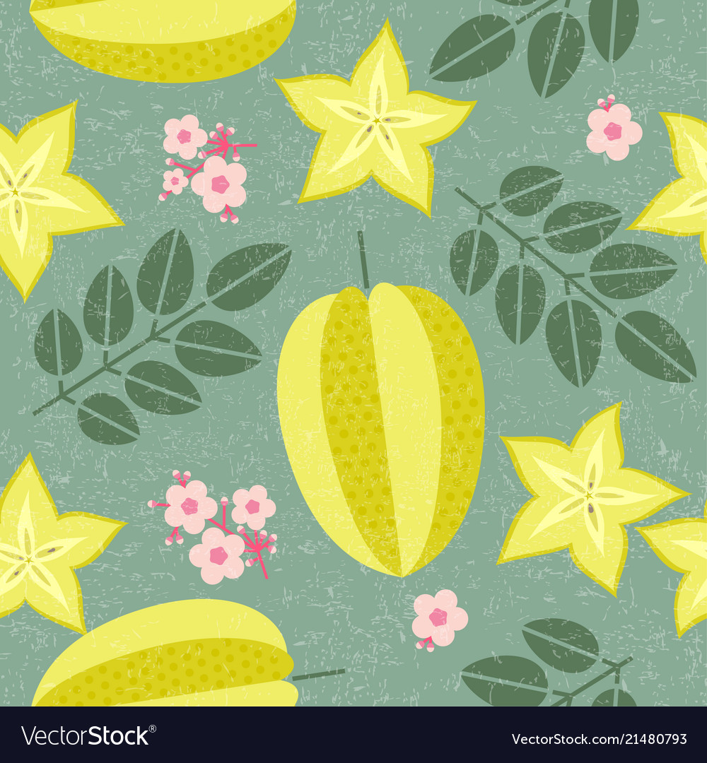 Star fruit seamless pattern leaves flowers