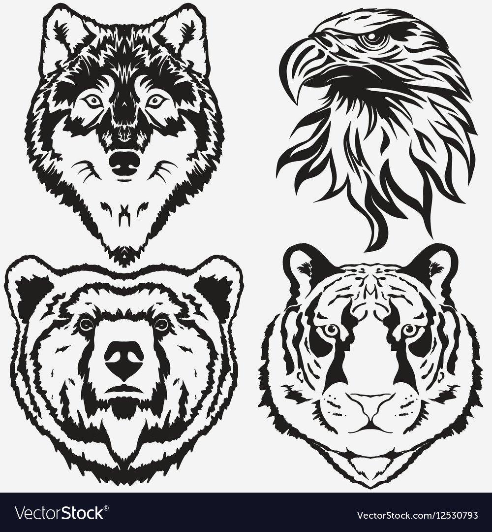Tiger Eagle Wolf Bear logo set