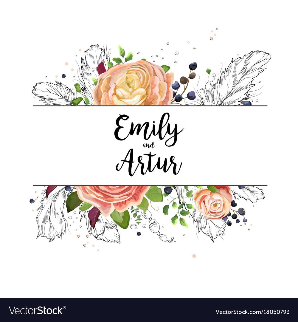 Wedding watercolor boho invitation card design vector image