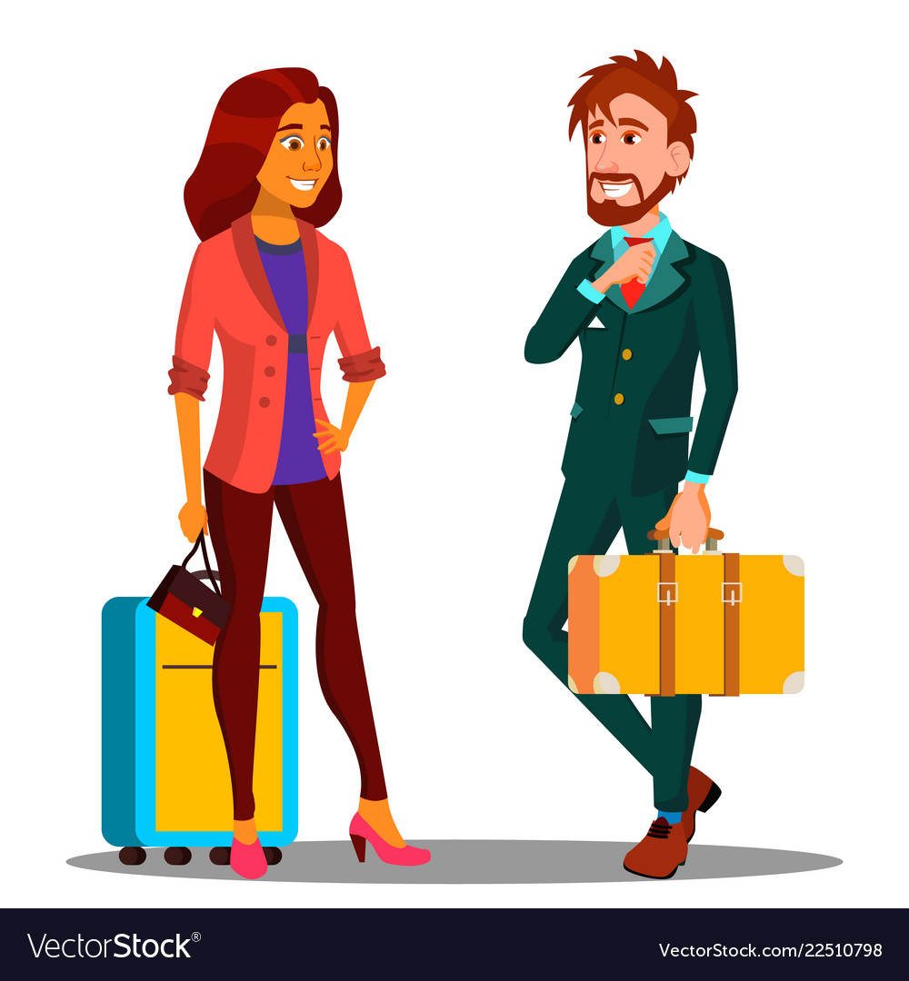 Business trip businessman in suit and suitcase in