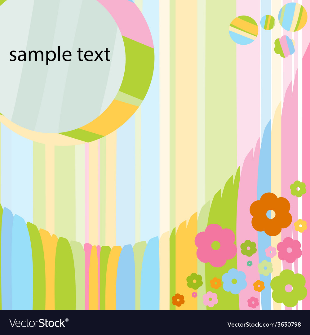 Card for baby girl with colorful flowers vector image