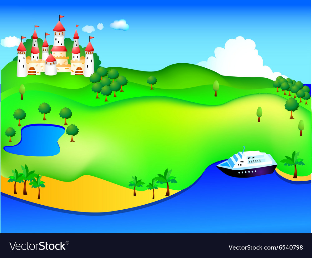 Castle and cruise vector image