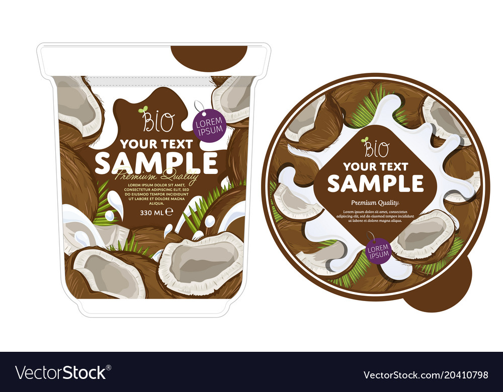 coconut yogurt packaging design template vector image