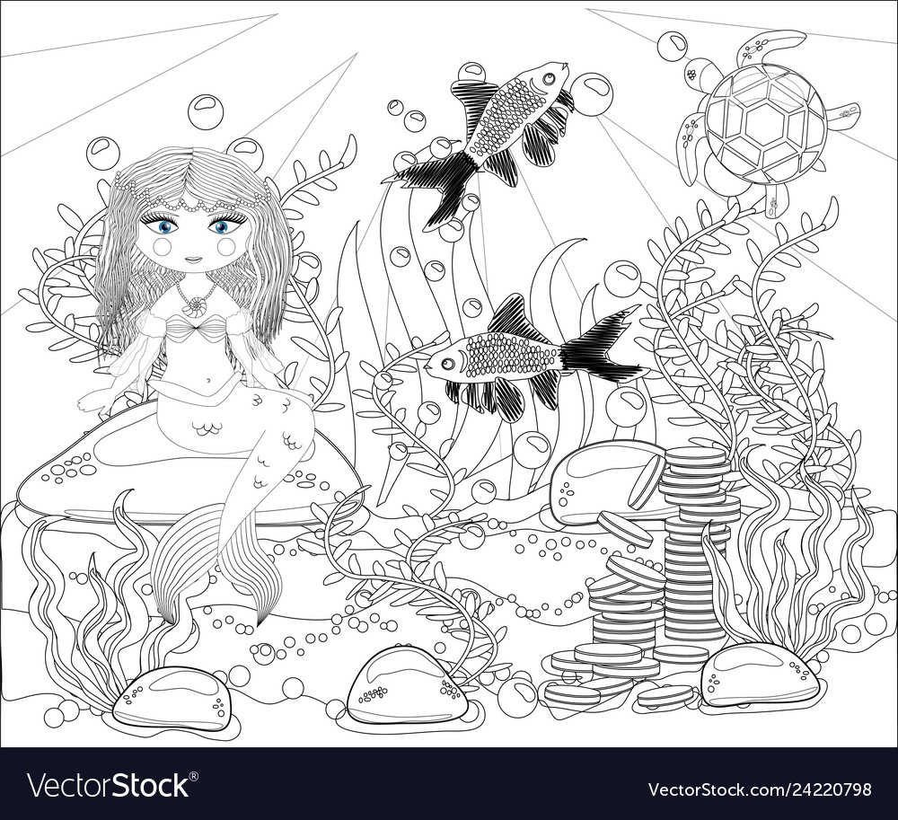 Coloring Book For Children Little Mermaid And Sea