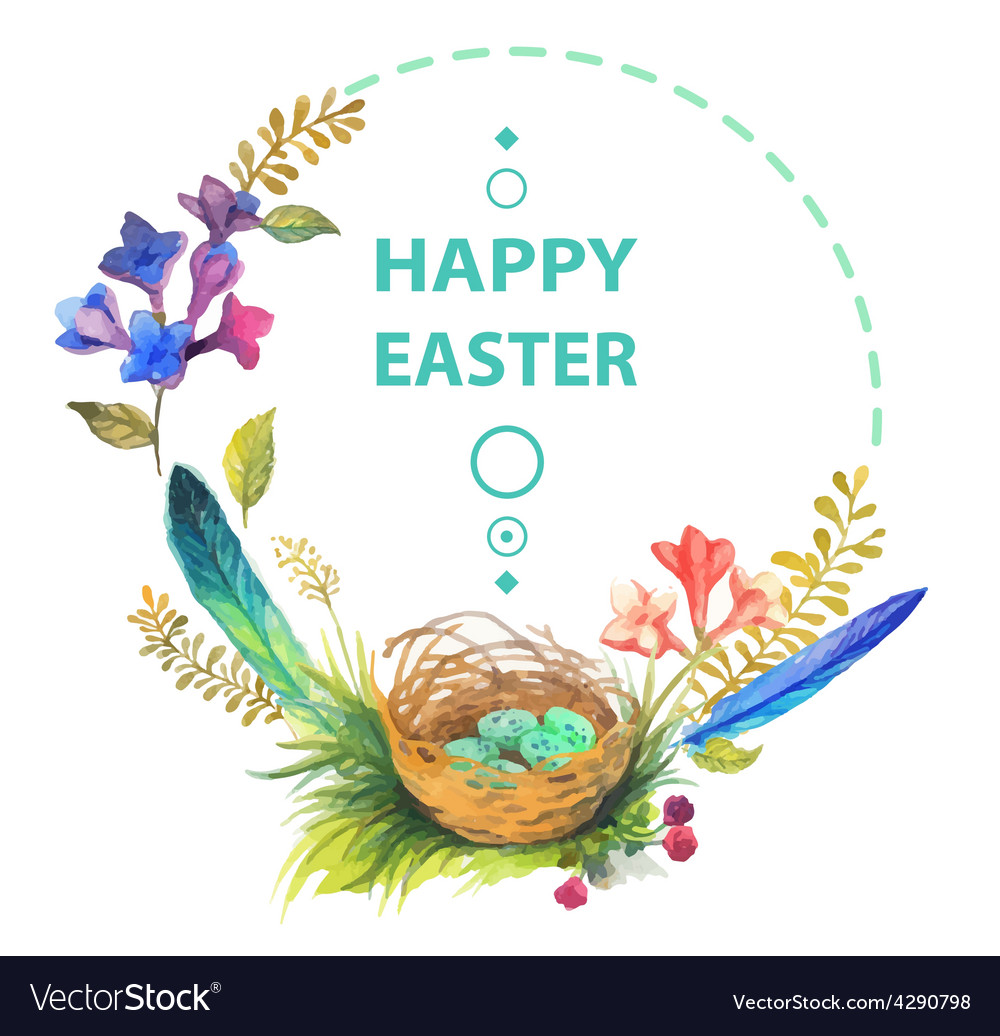 Easter card with wreath of watercolor flowers