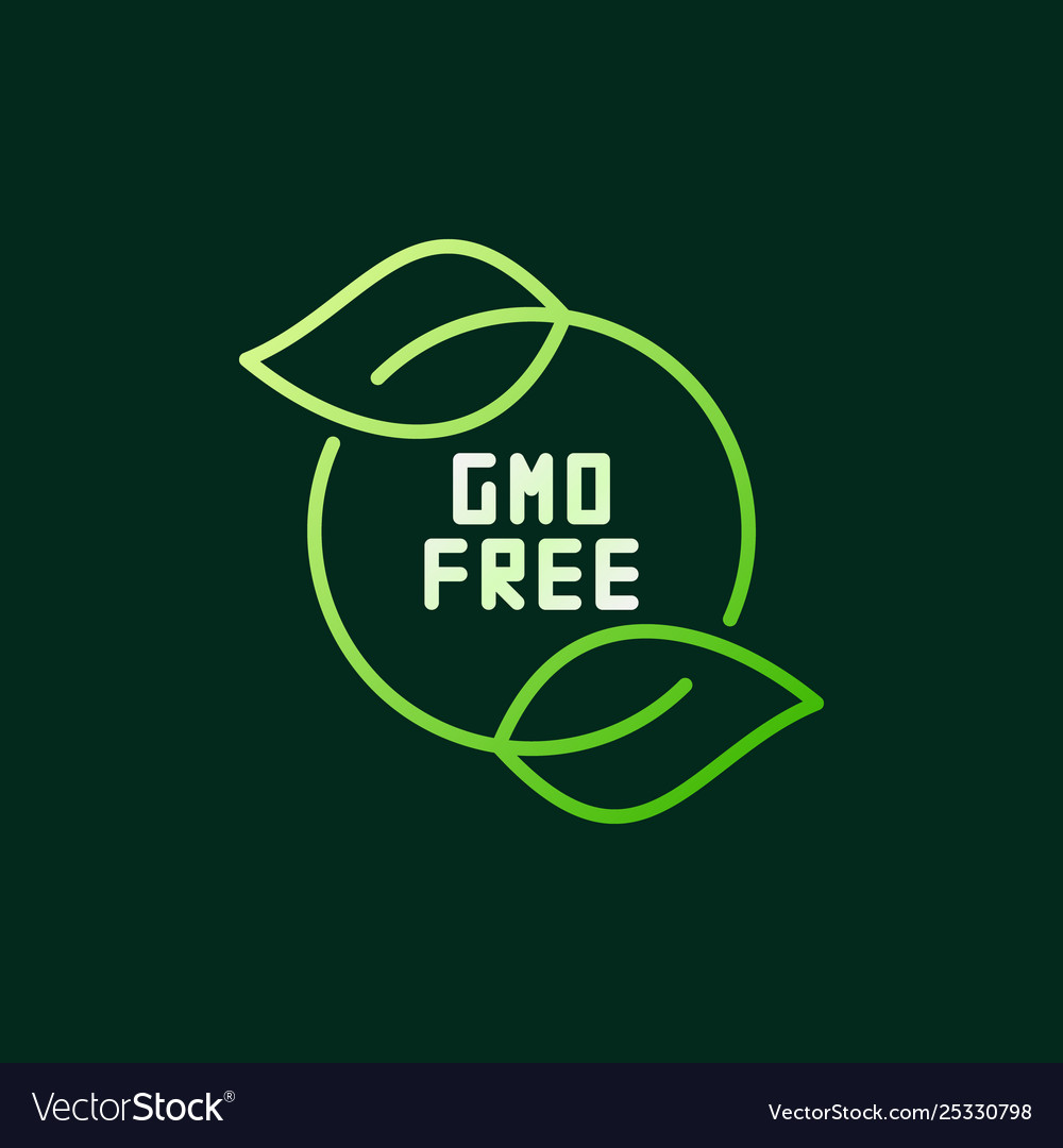 Gmo free with green leaves modern outline