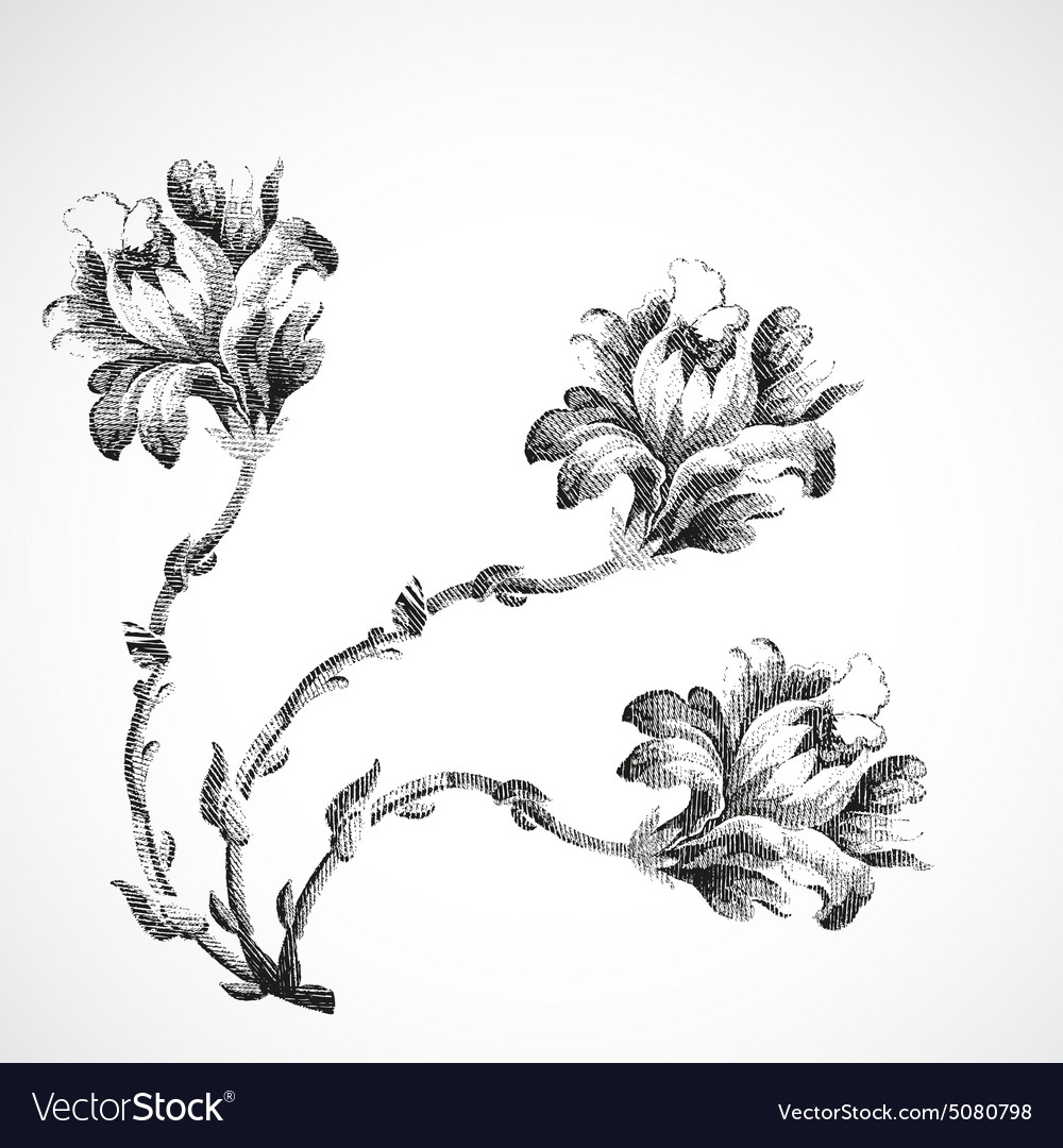 Hand drawn bouquet of three flowers of lily vintag hand drawn bouquet of three flowers of lily vintag vector image izmirmasajfo