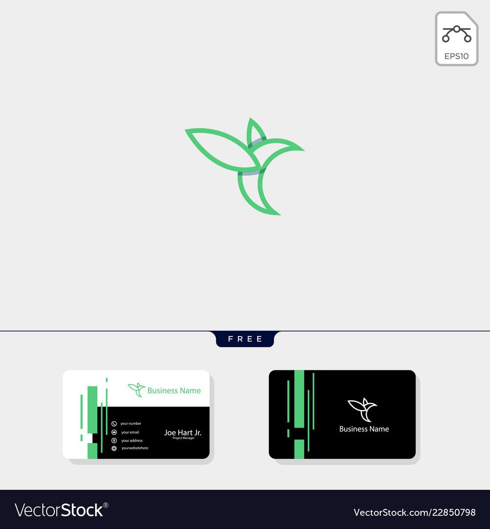 Line art hummingbird creative logo template free