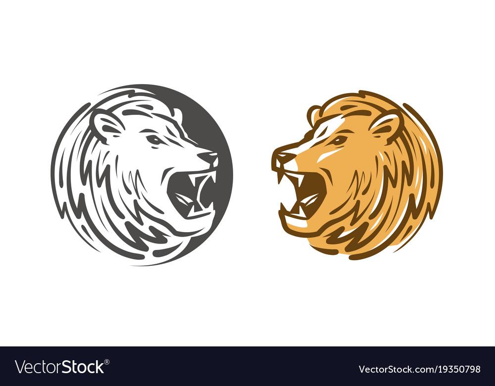 Lion roars logo or label animal wildlife emblem vector image