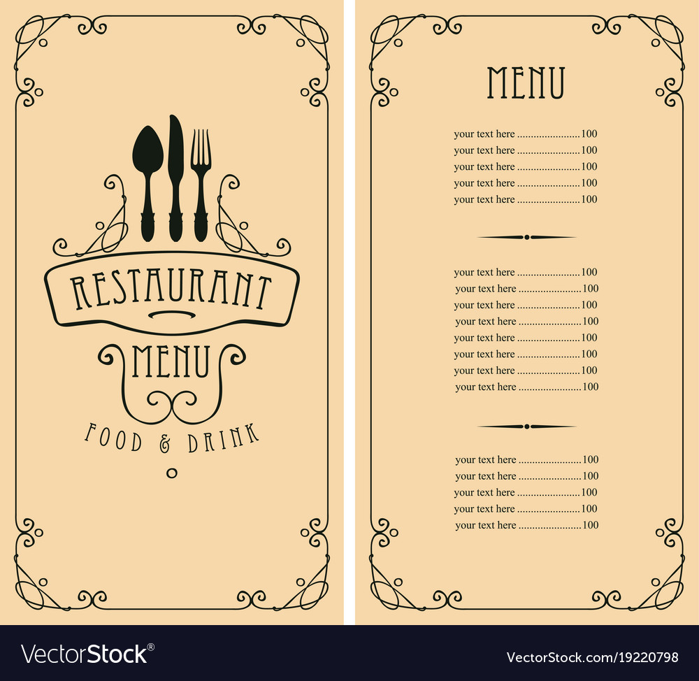 menu for restaurant with price list and cutlery vector image
