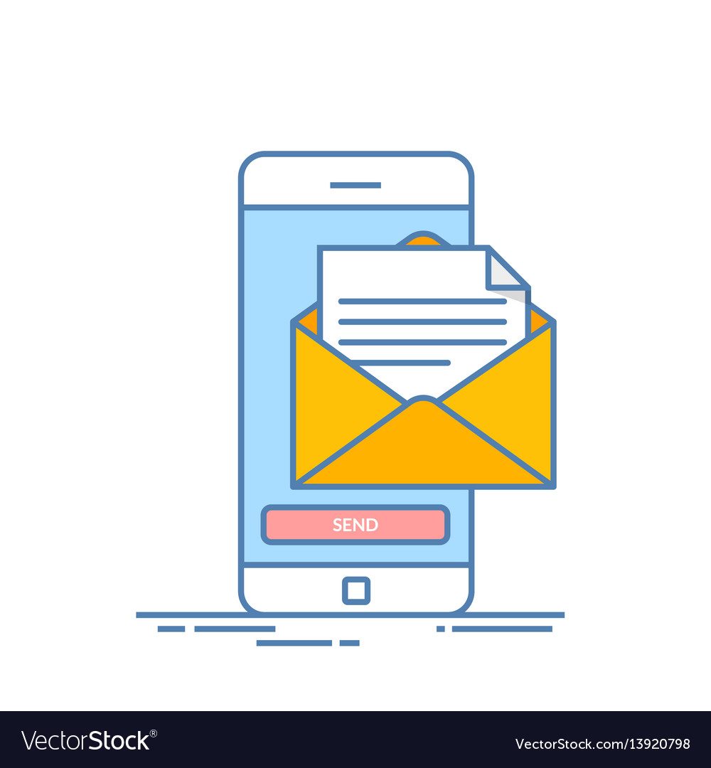 Message send on mobile phone email marketing
