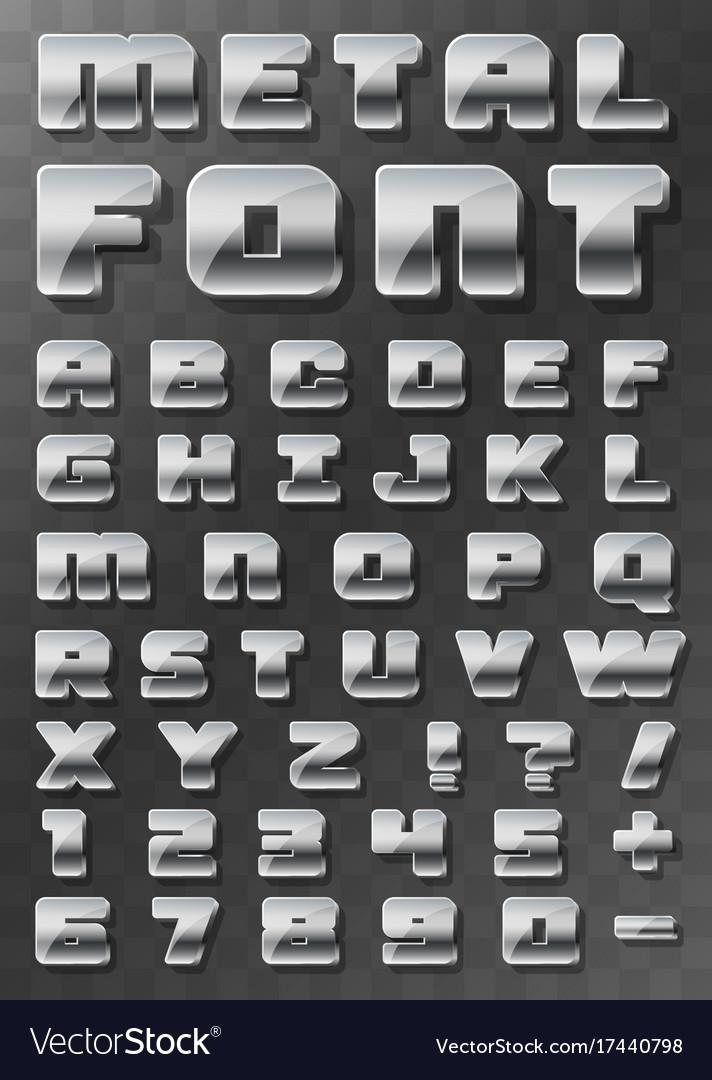 Metal font 3d on a transparent background