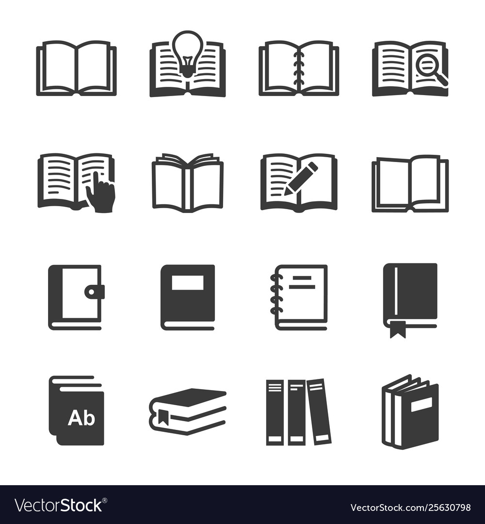 Set book icon set image
