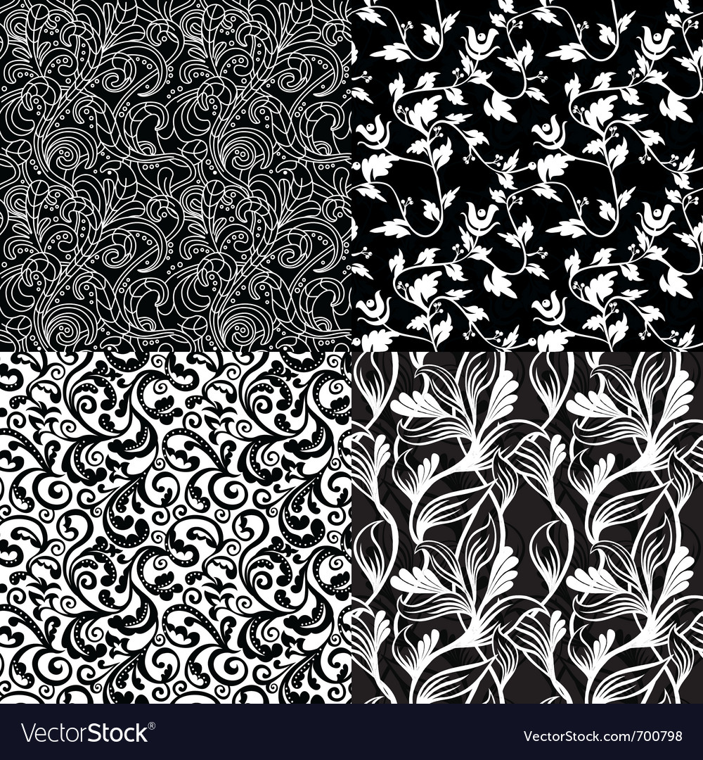 Floral Pattern Border Designs in Black and White Theme Wallpapers