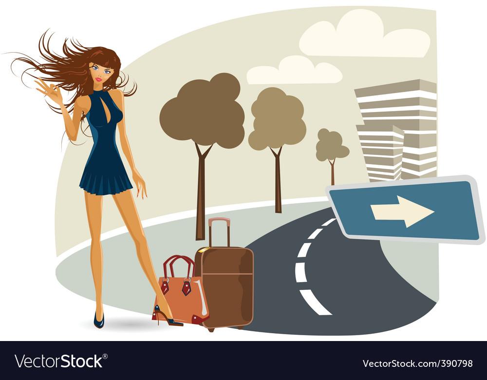 Vector girl on her travel