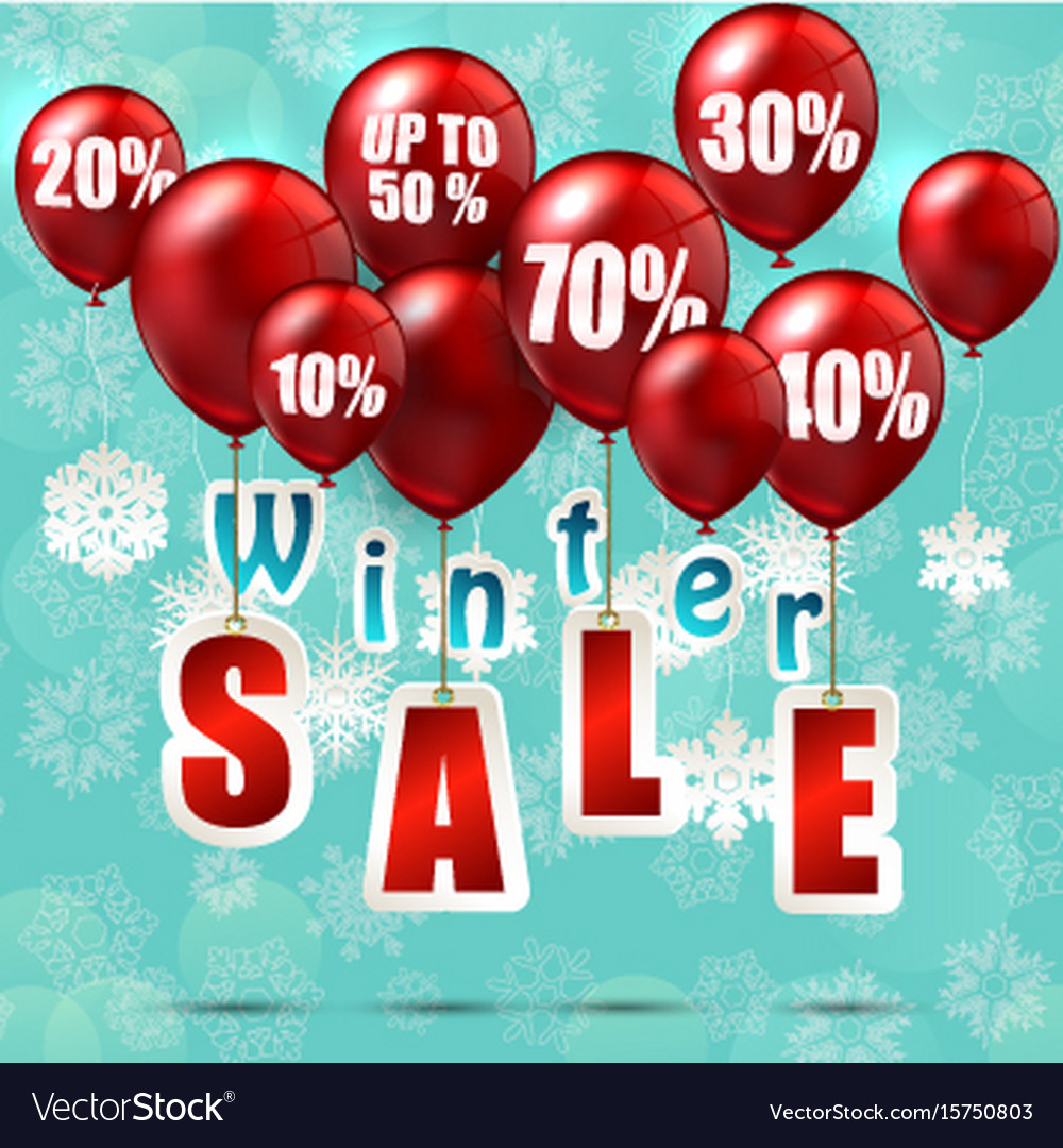 Balloons and discounts on winter sale background