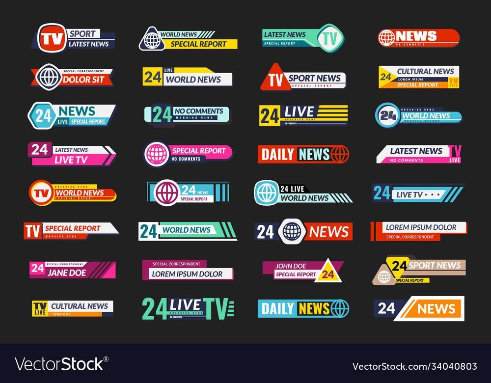 Broadcasting tv banner set news television screen