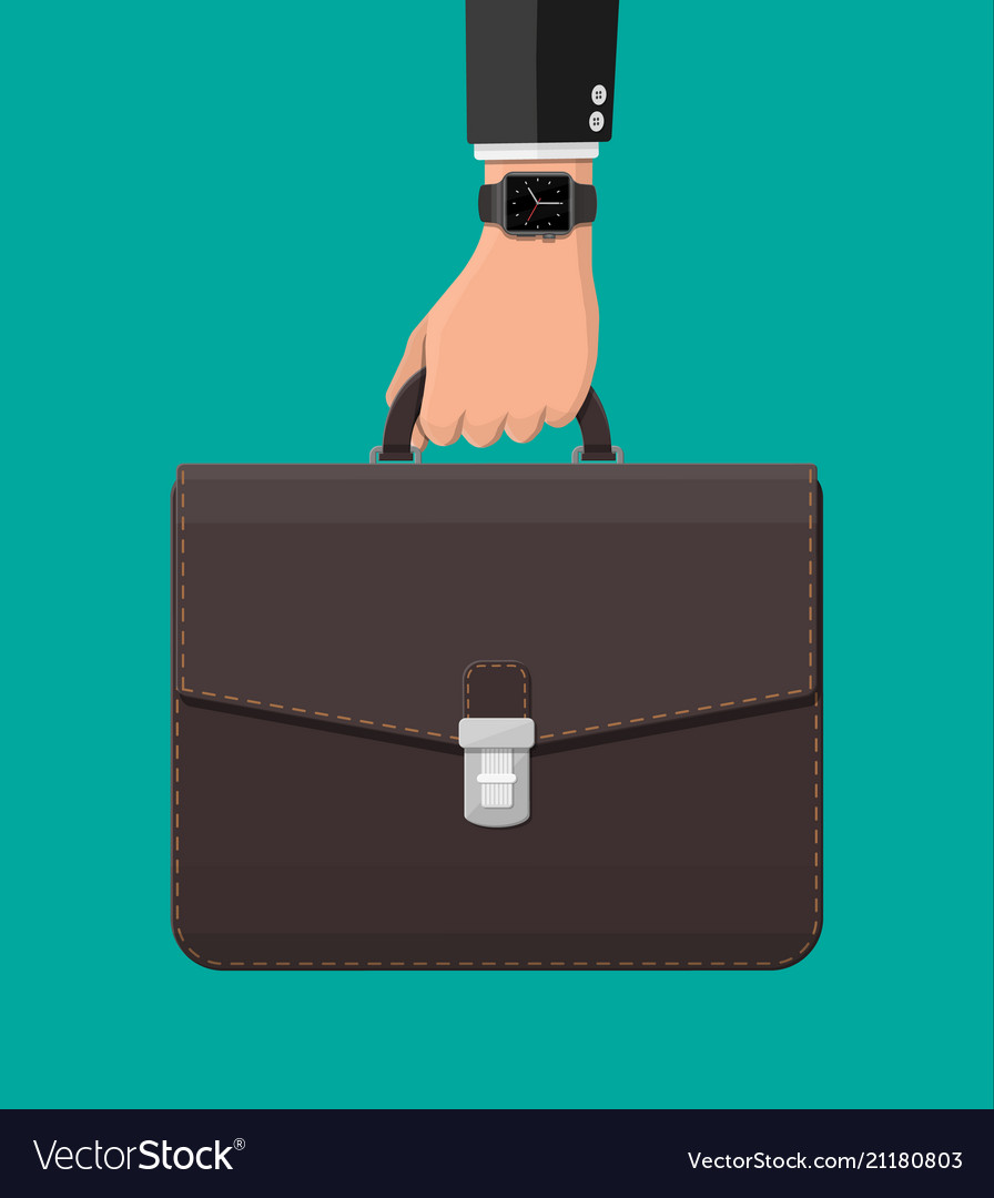 Businessman with smart watch and suitcase in hand