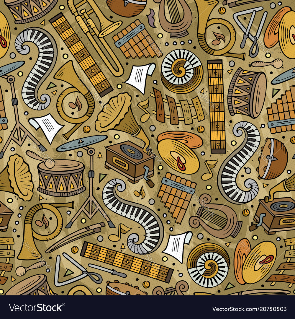Cartoon hand-drawn classic music seamless pattern