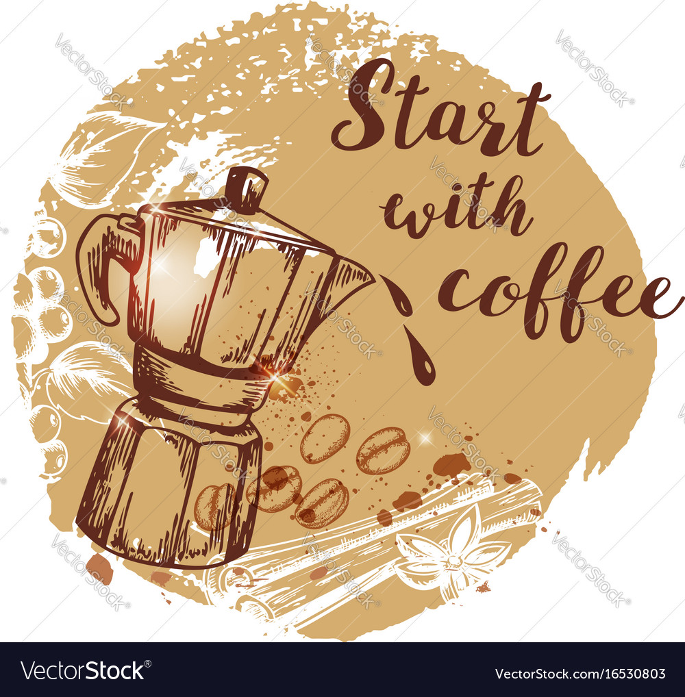 Coffee pot and coffee beans vector image