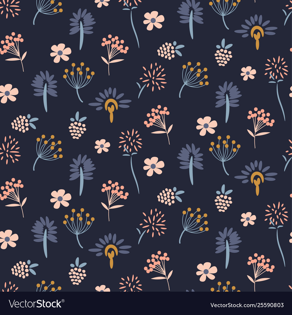 Floral meadow blue seamless pattern