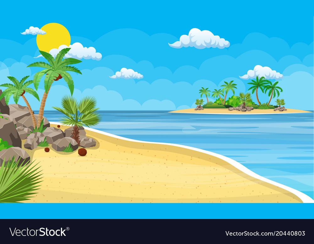 Landscape of palm tree on beach